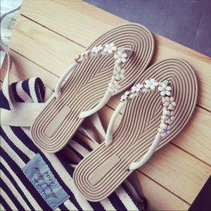 Shoes - Flower flip flops/sandals. Comfortable!